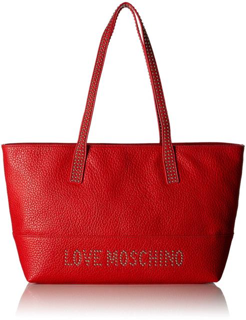 Love Moschino Borsa Grain Pu, Women's Tote, Red Rosso, 10x28x46 cm B x H T.