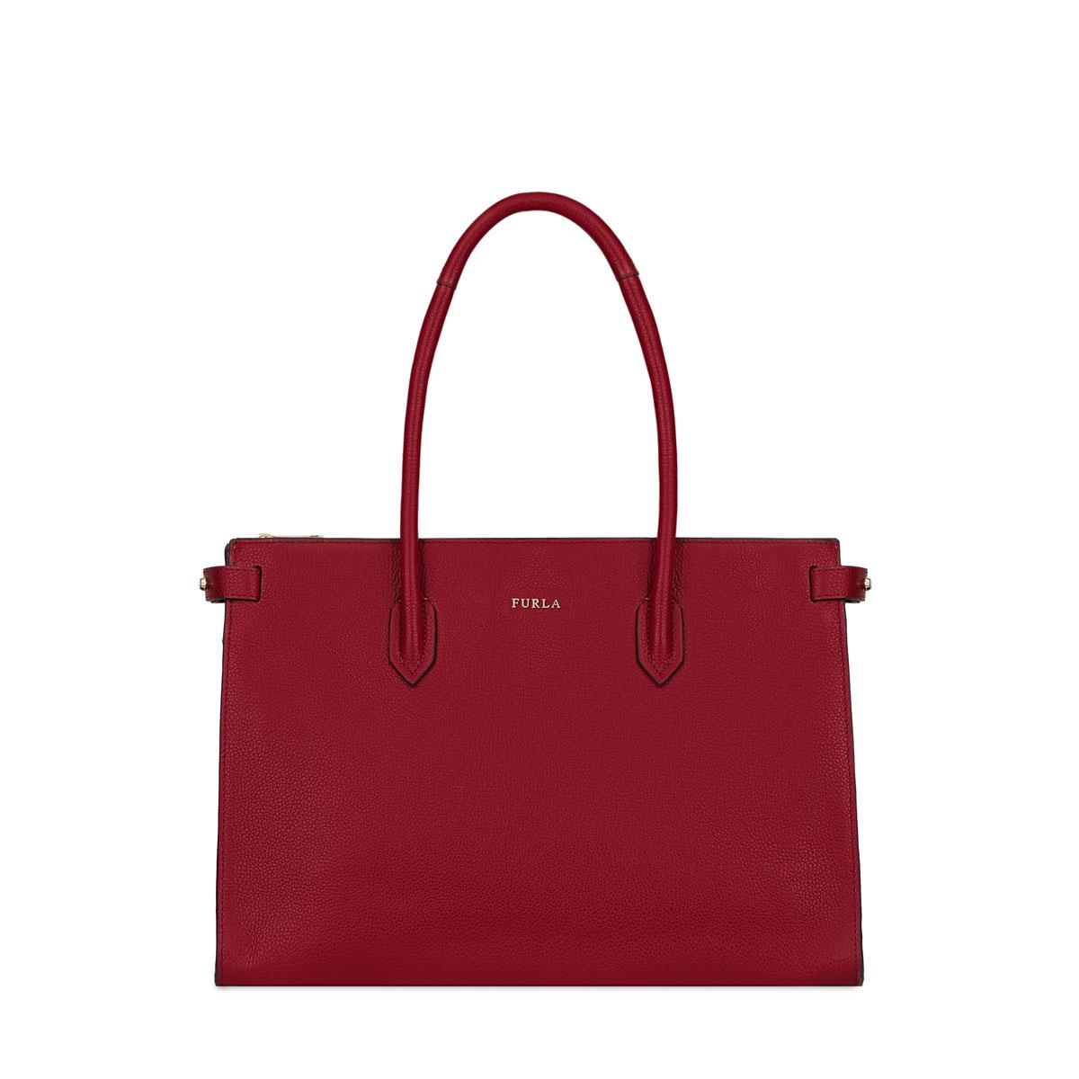 Furla Pin tote shoulder bag M calf leather Cherry.
