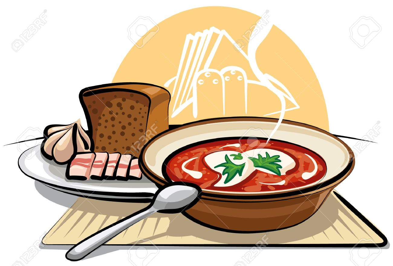 Borscht Soup And Garlic With Ham Royalty Free Cliparts, Vectors.