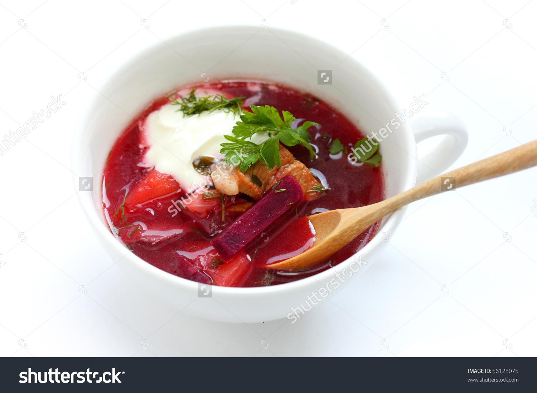 Borsch , Borscht , Russian Beetroot Soup Stock Photo 56125075.