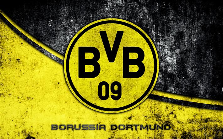 Download wallpapers 4k, Borussia Dortmund, grunge, logo, BVB.