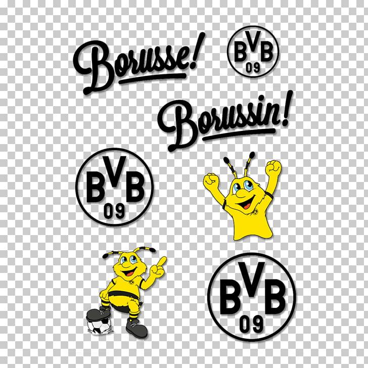 Borussia Dortmund Sticker Text Foil, bvb logo PNG clipart.