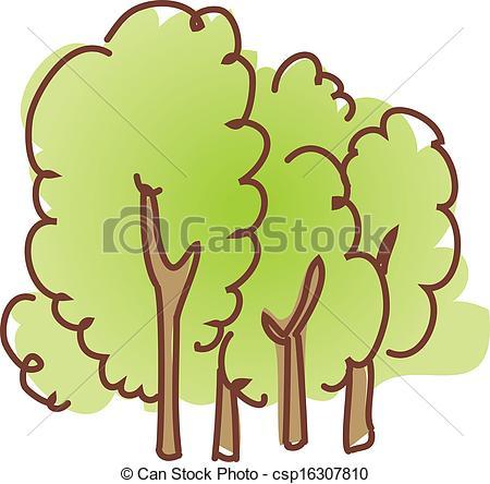 Vector Clip Art van bos, Bomen.