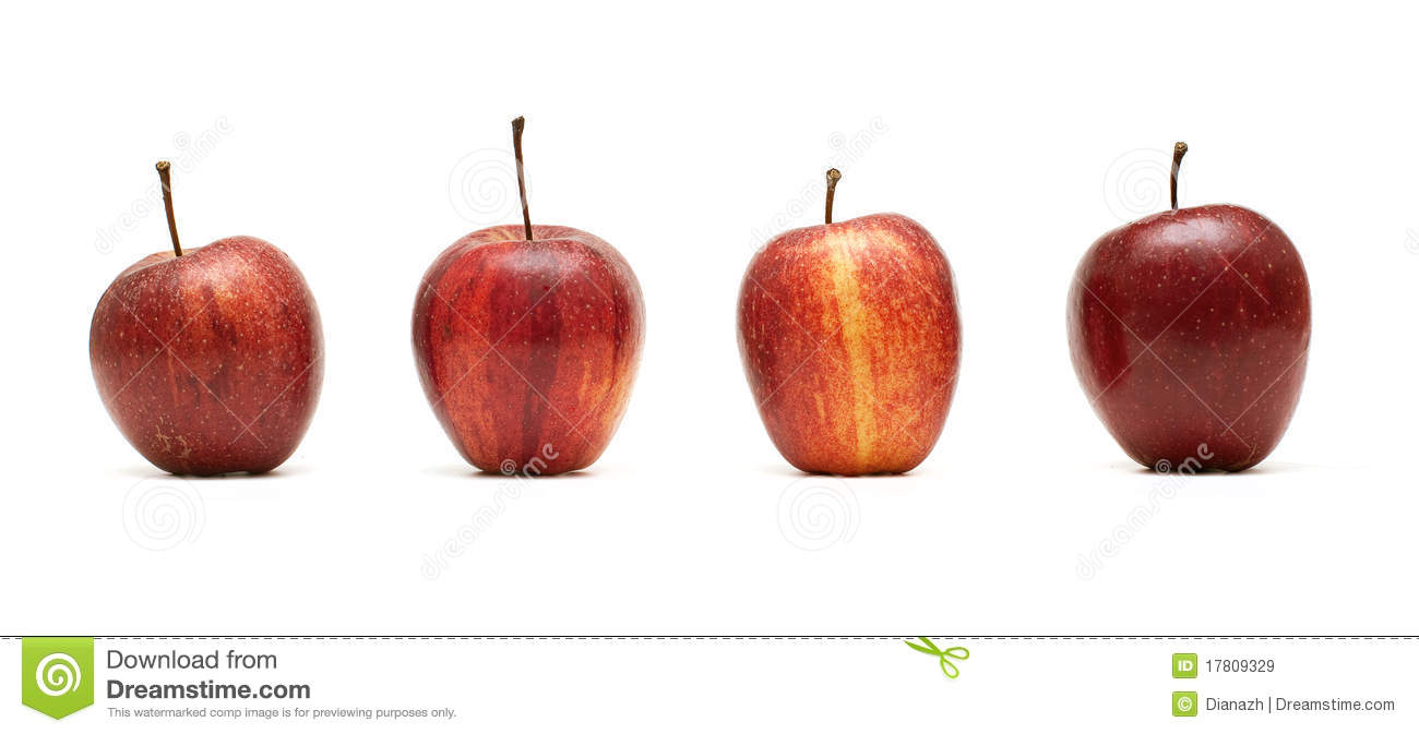 Four Red Apples, Belle De Boskoop Stock Photo.