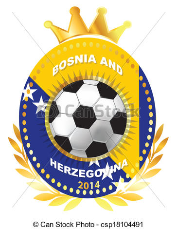 Vector Illustration of Bosnia and Herzegovina flag on ball.