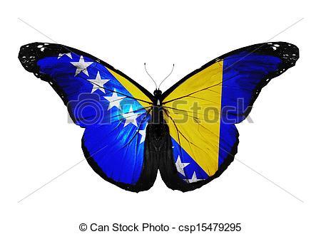 Stock Illustration of Bosnia and Herzegovina flag butterfly flying.