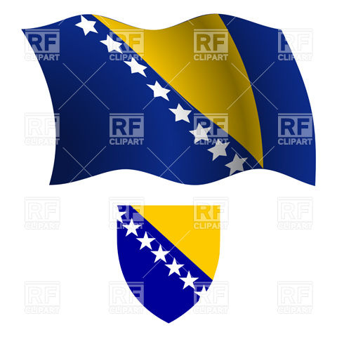Bosnia and Herzegovina flag and coat of arms Vector Image #20748.