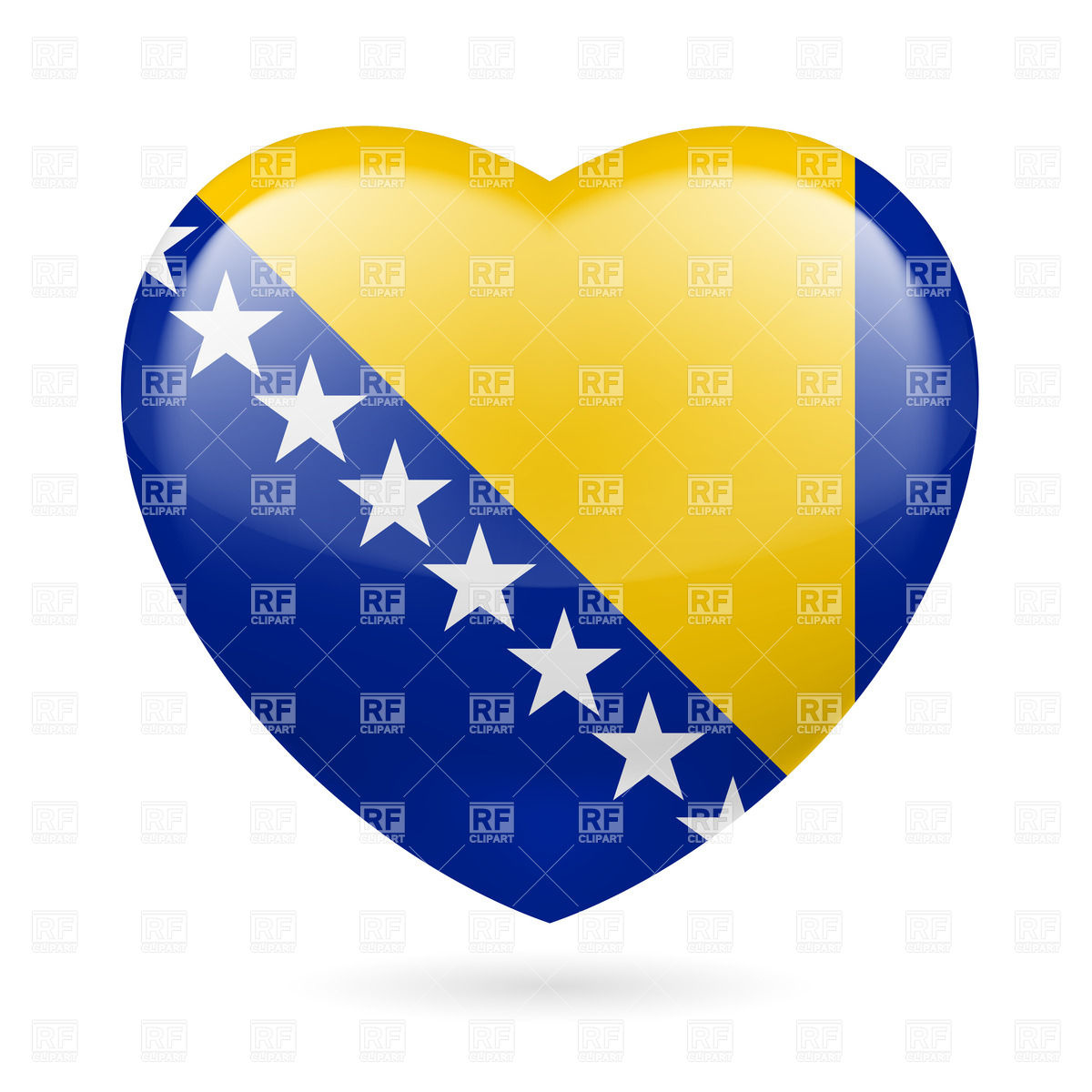 I love Bosnia and Herzegovina. Heart with flag colors Vector Image.