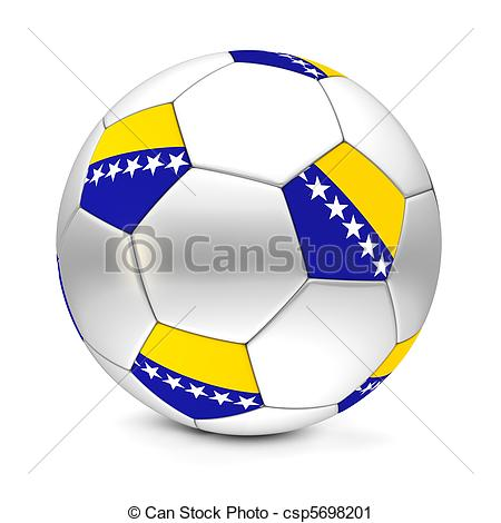 Clipart of Soccer Ball/Football Bosnia And Herzegovina.