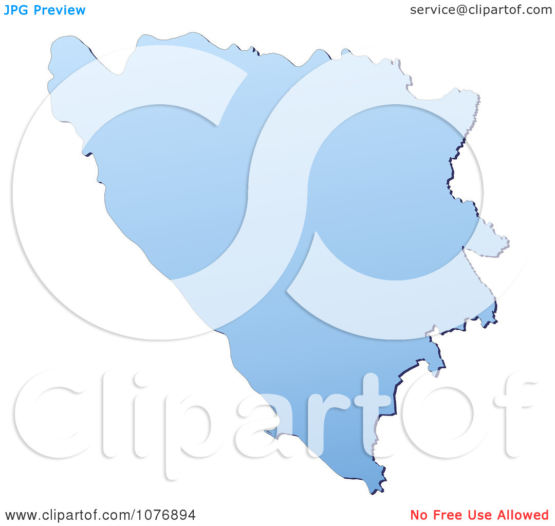Clipart Gradient Blue Bosnia And Herzegovina Mercator Projection.