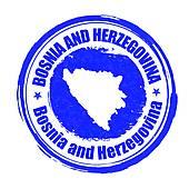 Clip Art of Bosnia and Herzegovina cities stamp k25289689.