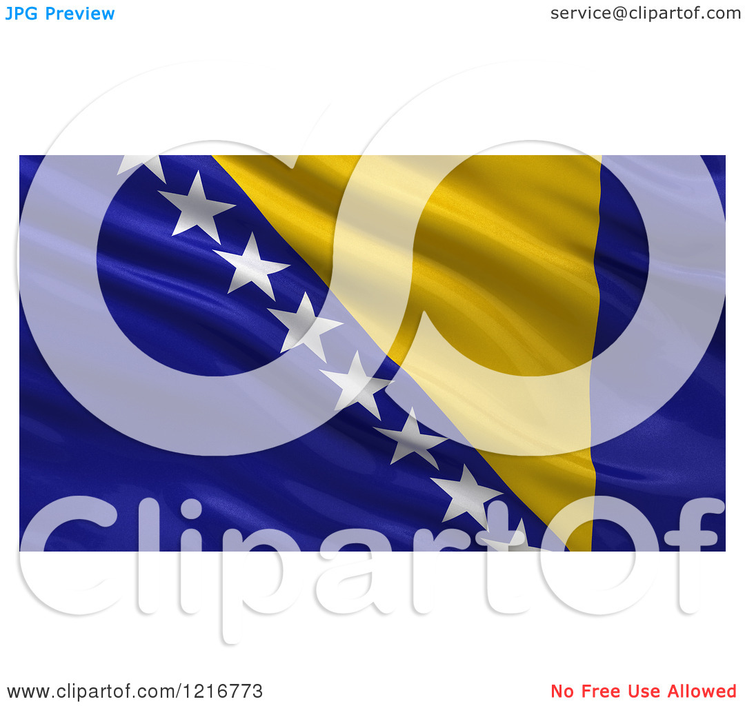 Clipart of a 3d Waving Flag of Bosnia and Herzegovina with Rippled.