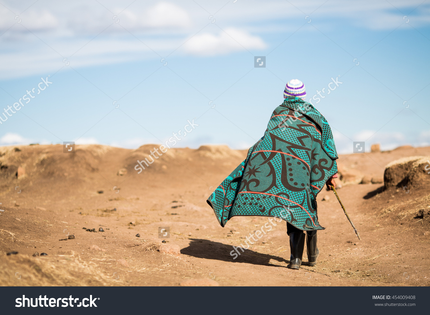 Unidentified Basotho Man Wearing Traditional Blanket Stock Photo.