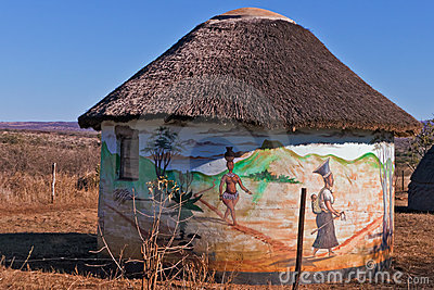 Traditional African Village,South Africa Stock Photo.