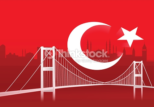 Turkish Flag With Istanbul Bosphorus Bridge Vector Art.