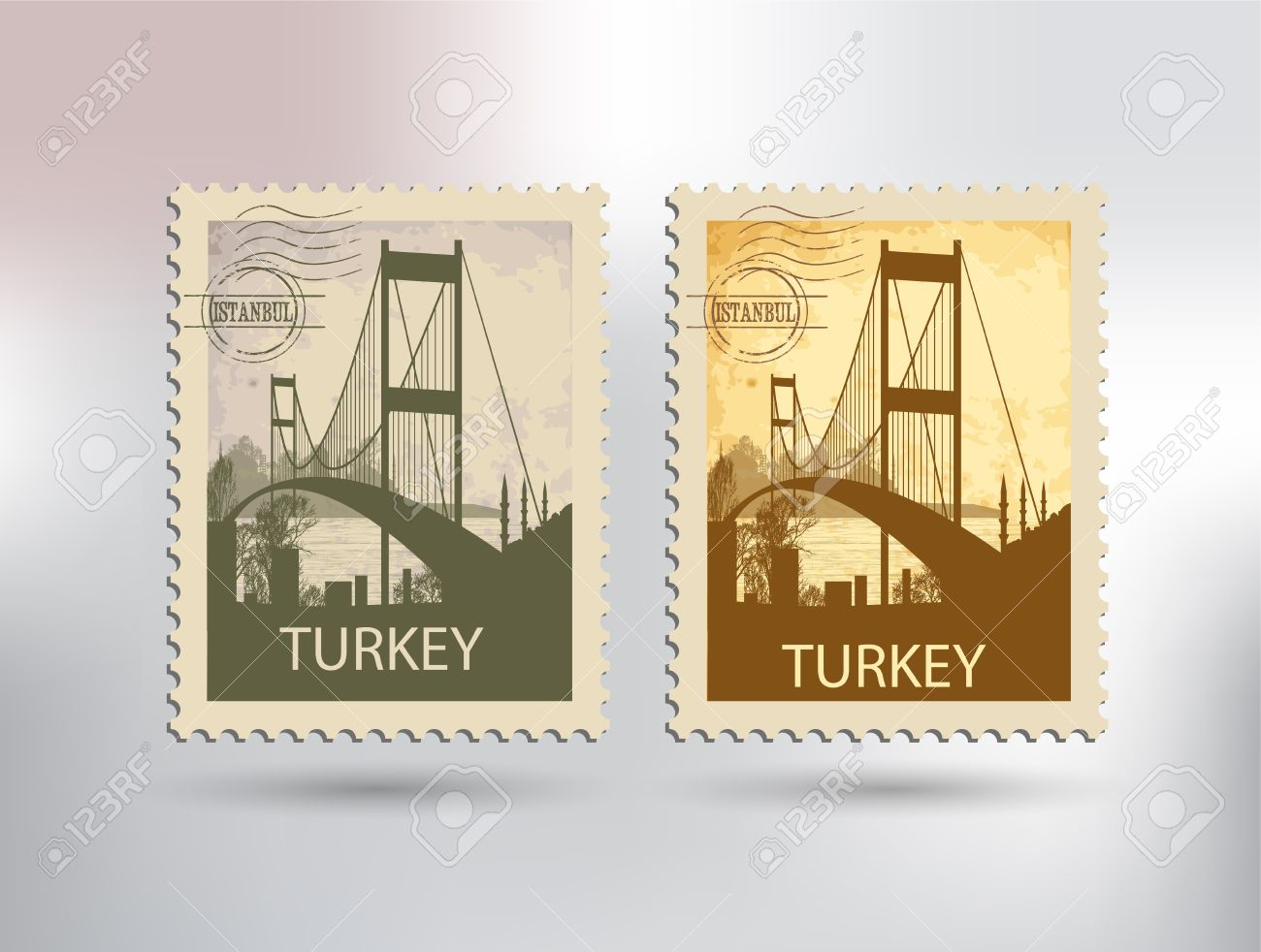 Bosphorus Bridge And Stamp Royalty Free Cliparts, Vectors, And.