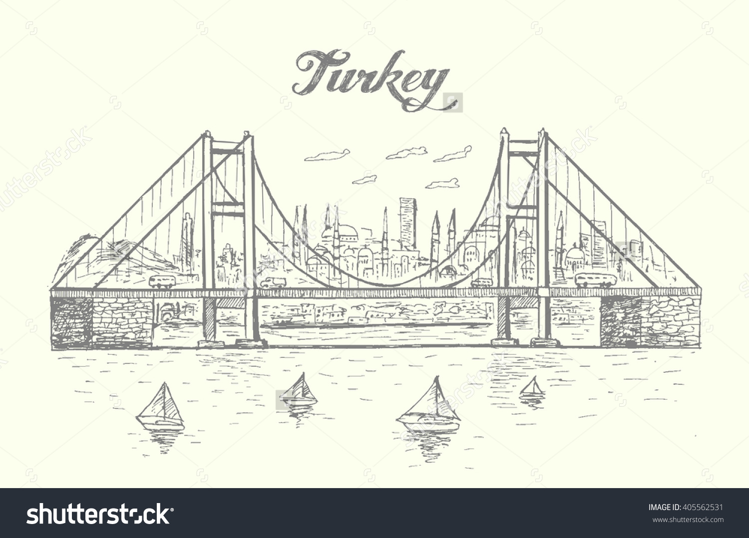 Bosphorus Bridge Istanbul Skylinesketch Stylehand.