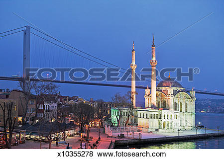 Pictures of Ortakoy Mosque and Bosphorus Bridge at dusk, Istanbul.