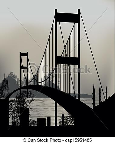 Vector of Istanbul Bosphorus Bridge and the skyline csp15951485.