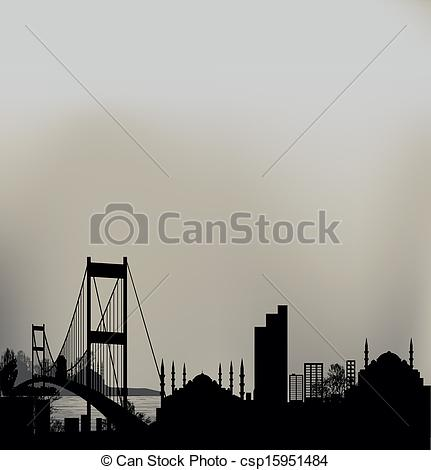 Vector of Istanbul Bosphorus Bridge and the skyline csp15951484.