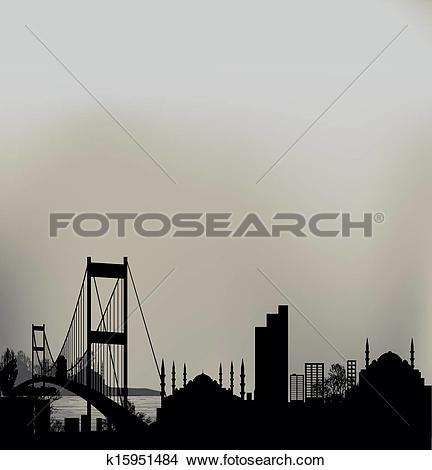 Clipart of Istanbul Bosphorus Bridge k15951484.