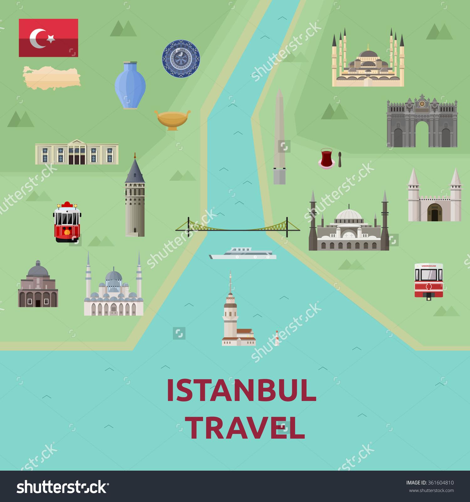 Map Istanbul Attraction Landmarkbosphorus Bridge Blue Stock Vector.
