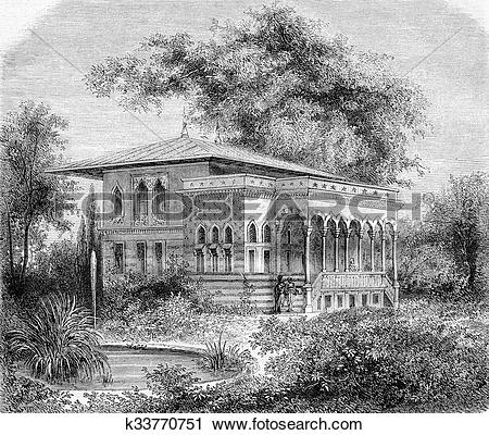 Clipart of World Expo 1867, The House of the Bosphorus, vintage.