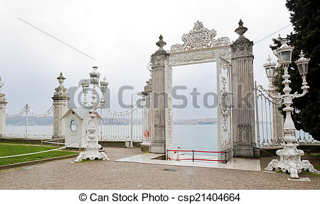 Stock Image of Bosporus, Istanbul, Dolmabahce palace with ottoman.