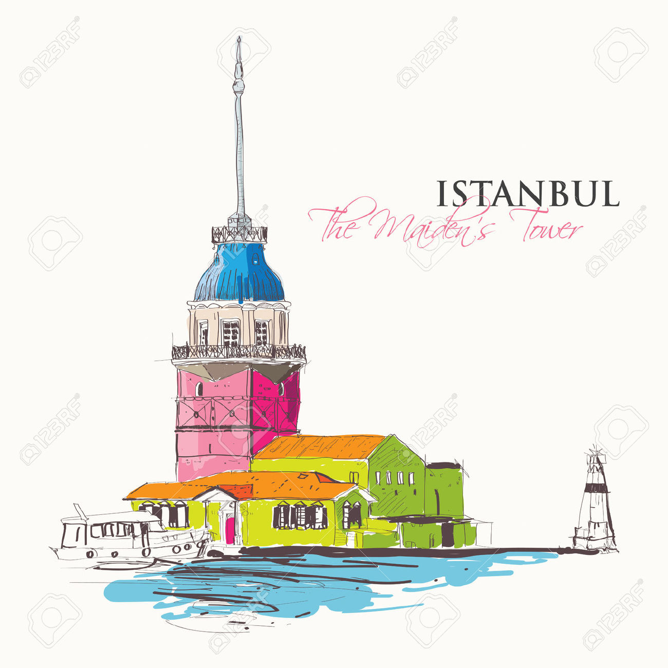 Vector Illustration Of The Maiden's Tower Or Kizkulesi, An Ancient.