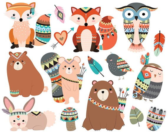 Bosques animales tribales Clipart.