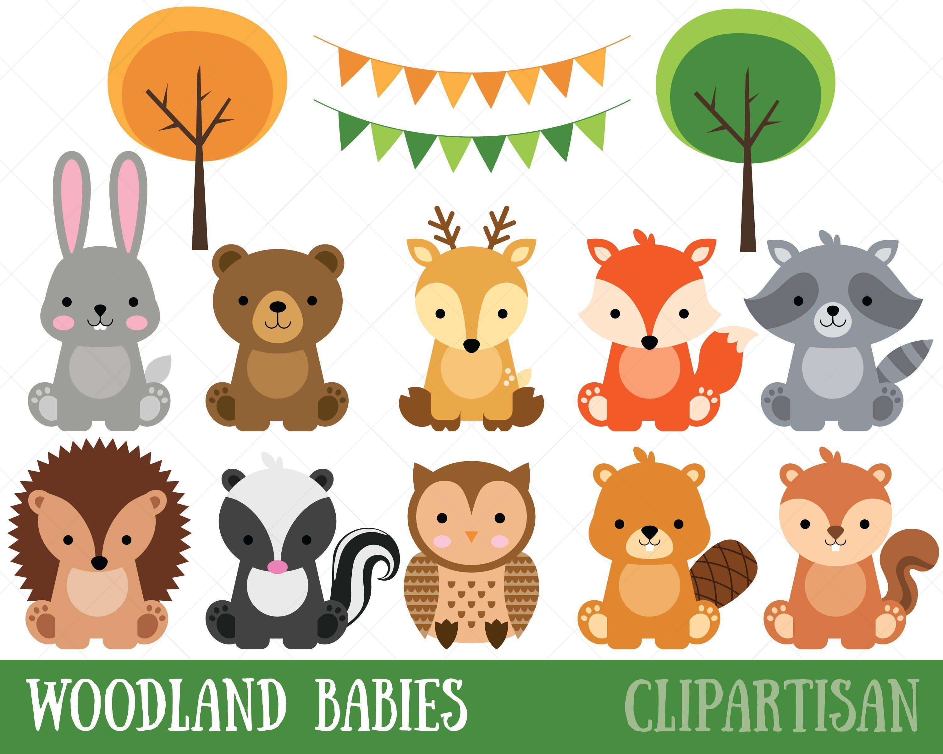 Woodland Baby Animals Clipart.