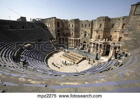 Stock Image of The ancient roman theater of Bosra, Syria mpz2275.