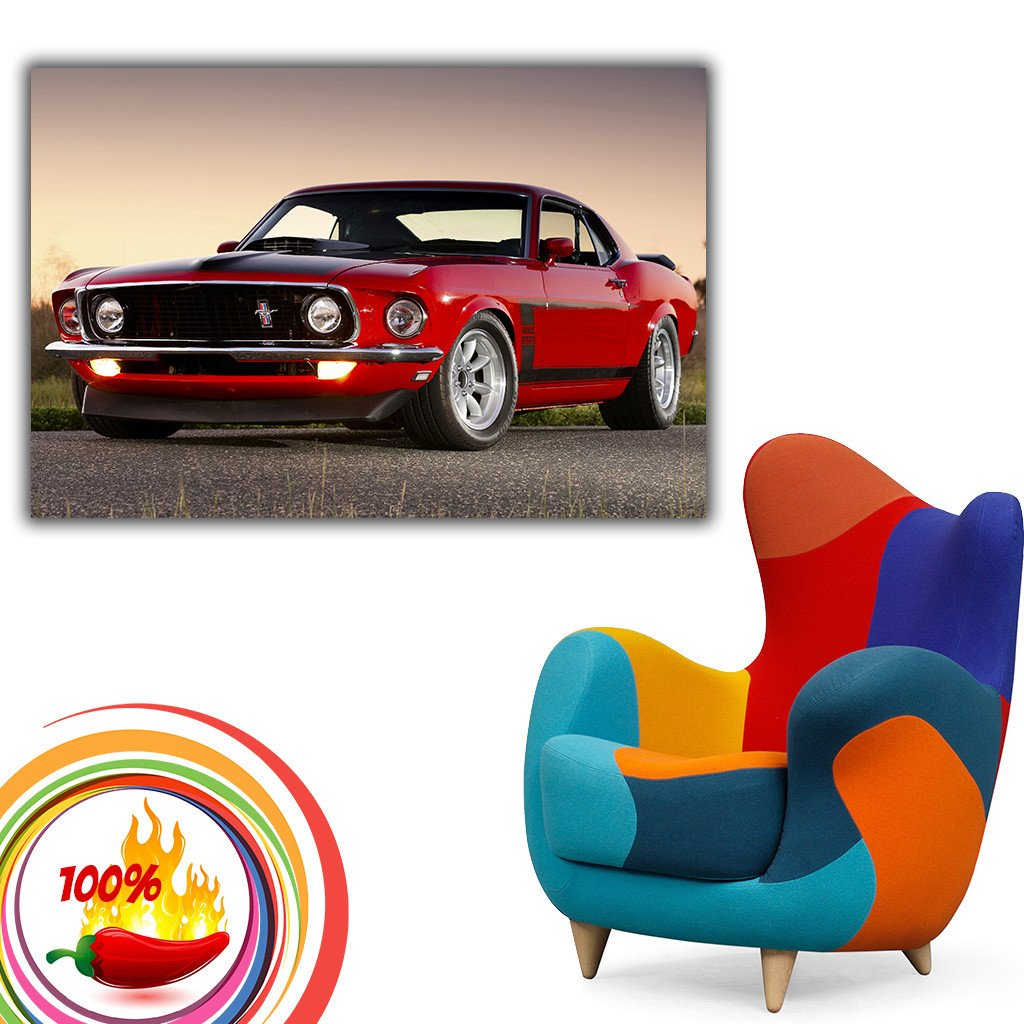 Ford Mustang Boss 302 Muscle Car Red Poster.