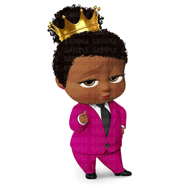 African American Girl Boss Baby Edible Cake Image Cake Topper Icing.
