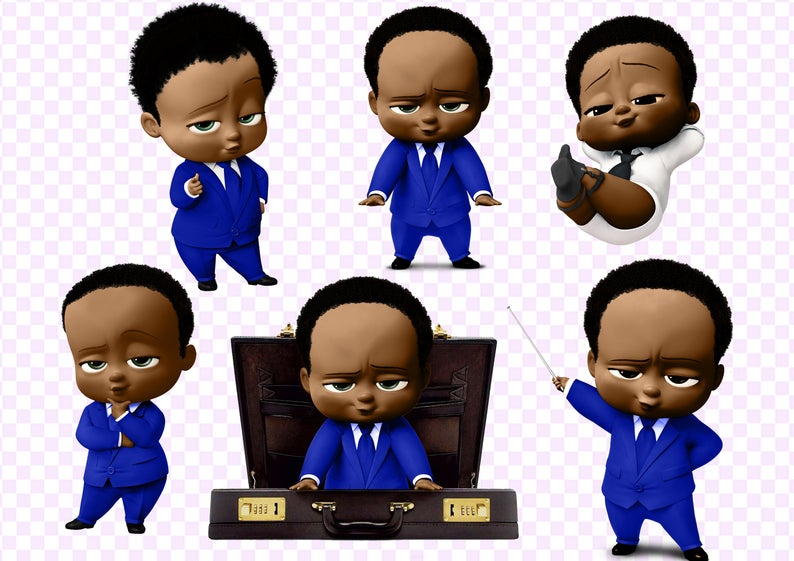 African American Boss Baby clipart 300 dpi, 8 PNG cut images on transparent  background African American Boss Baby.
