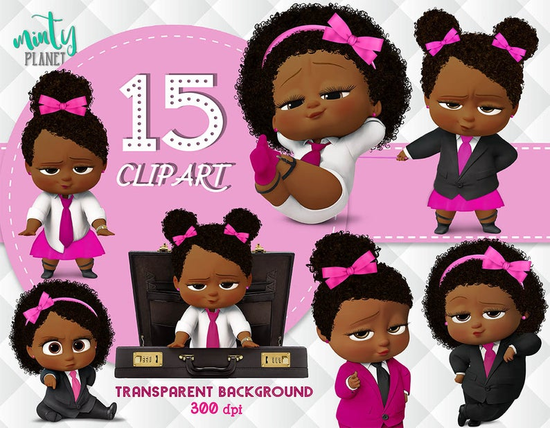 African American Girl Boss Baby, Boss Baby Girl full quality, Clipart  transparent background, 300dpi, instant download, PSN019.