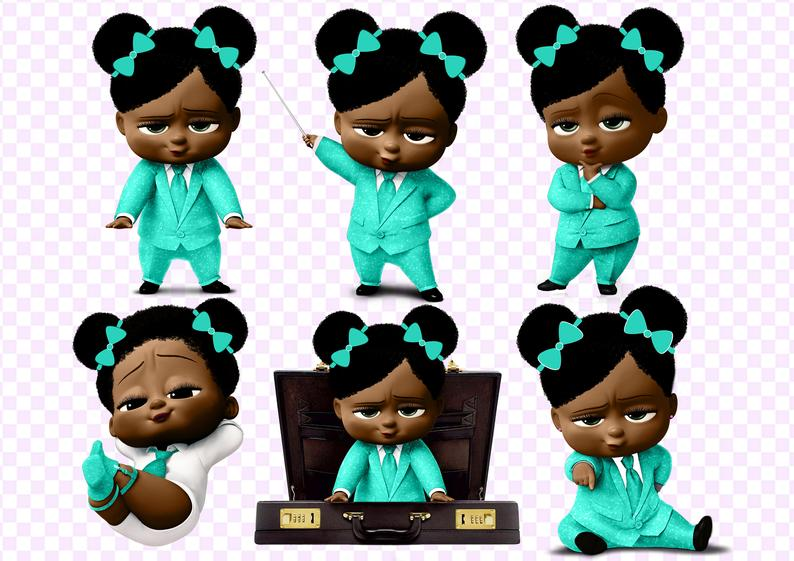 African American Boss Baby Girl PNG 300 dpi, 9 cut images on transparent  background African American Girl clipart.