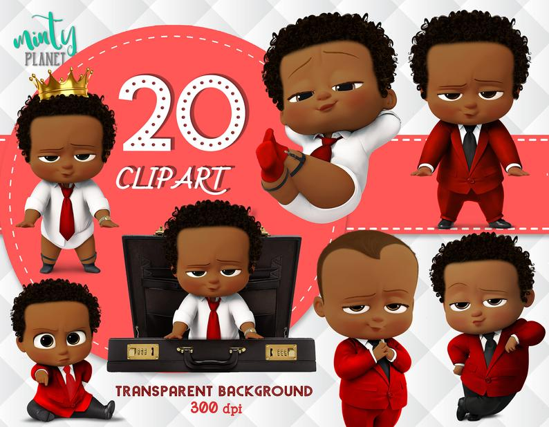African American Red Boss Baby, Boss Baby Red full quality, Red Outfit,  Clipart transparent background, 300dpi, instant download, PSN019.