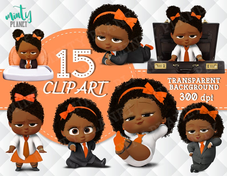African American Girl Boss Baby, Boss Baby Girl full quality, Orange  Outfit, transparent background, 300dpi, instant download, PSN019.