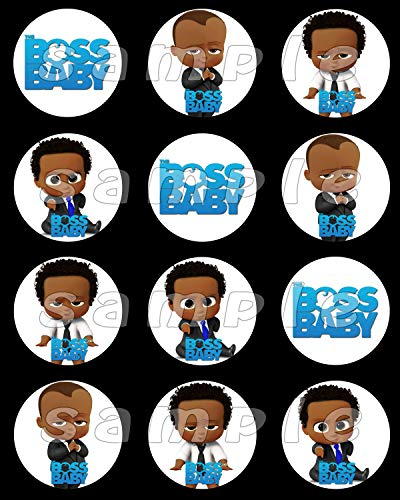Boss Baby African American Sheet of 12 stickers, African American boss baby  cupcake topper #3.