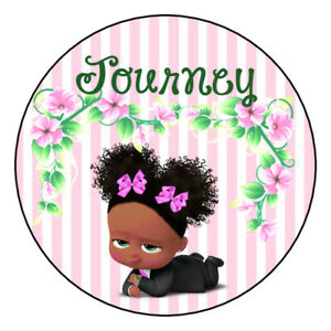 Details about 12 Favor Labels Boss Baby Girl Birthday Party Thanks Shower  Personalize custom?.