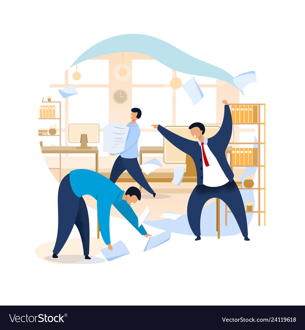 Angry boss shouting at employees clipart.