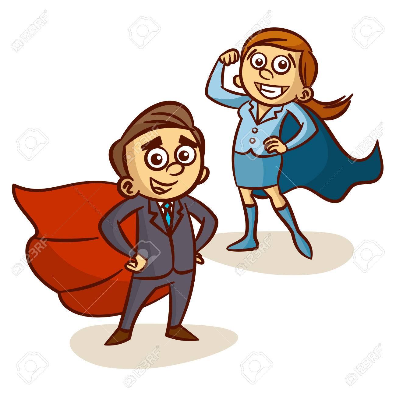 Super Boss. Businessman And Businesswoman With Superhero Cape...