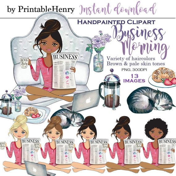 Girl boss lady clipart glam clipart lazy weekend fashion clipart planner  girl graphics coffee cat African American clipart PrintableHenry.