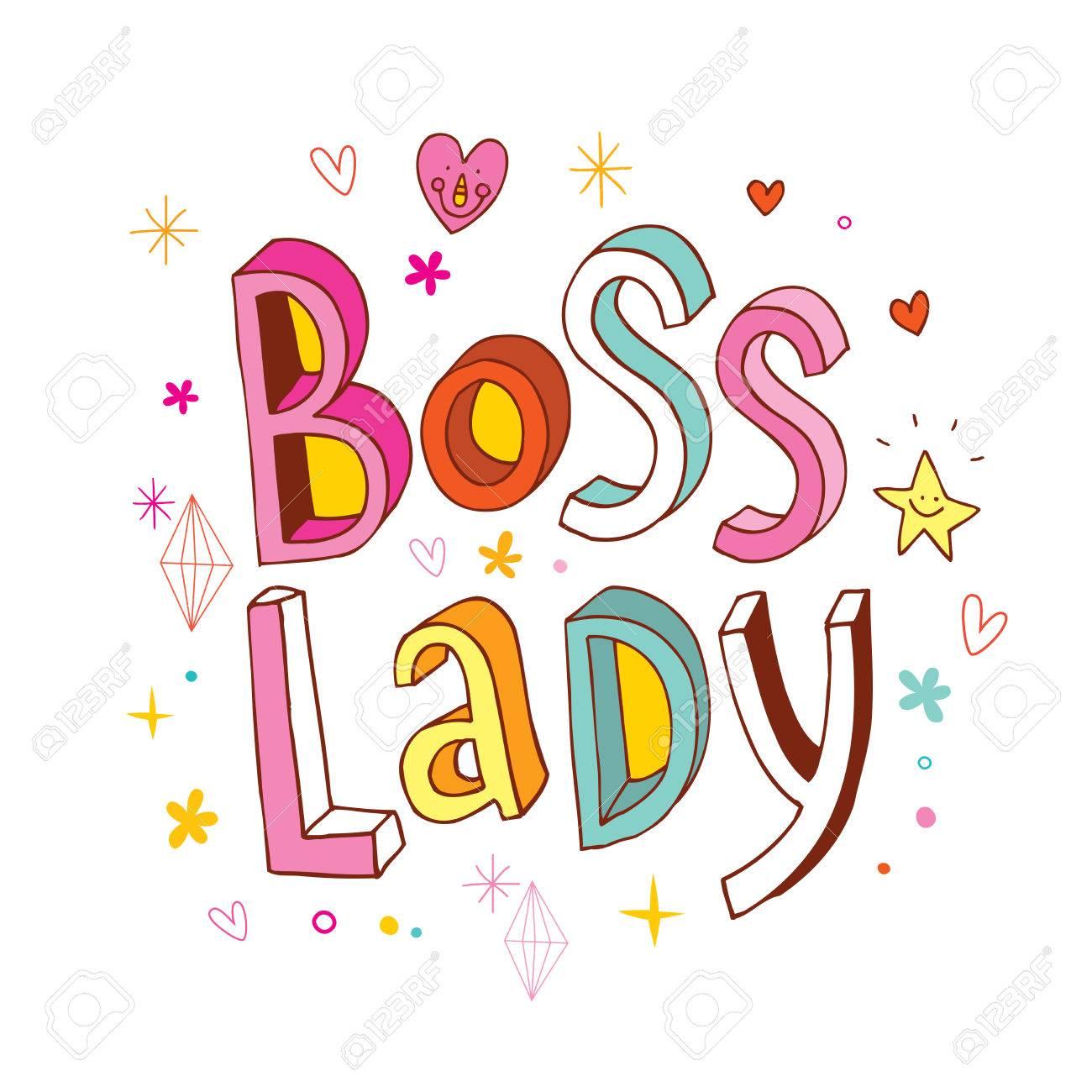 Boss Lady fancy word on white.