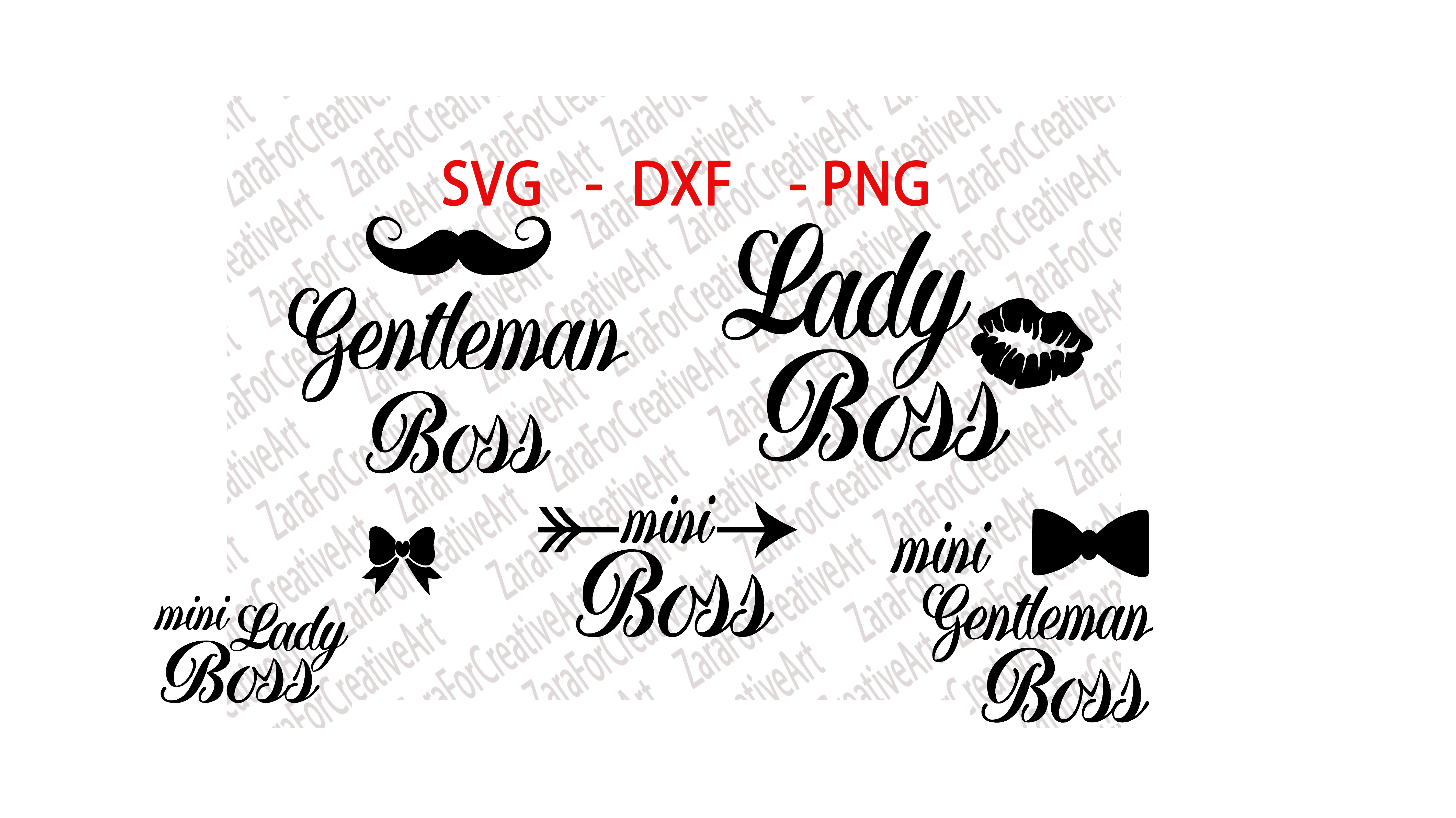SVG , DXF , PNG , Gentleman Boss, Lady Boss, Mini Lady Boss , Mini Boss,  Mini Gentleman Boss , Cutting files , Silhouette ,Cameo ,Die Cut.