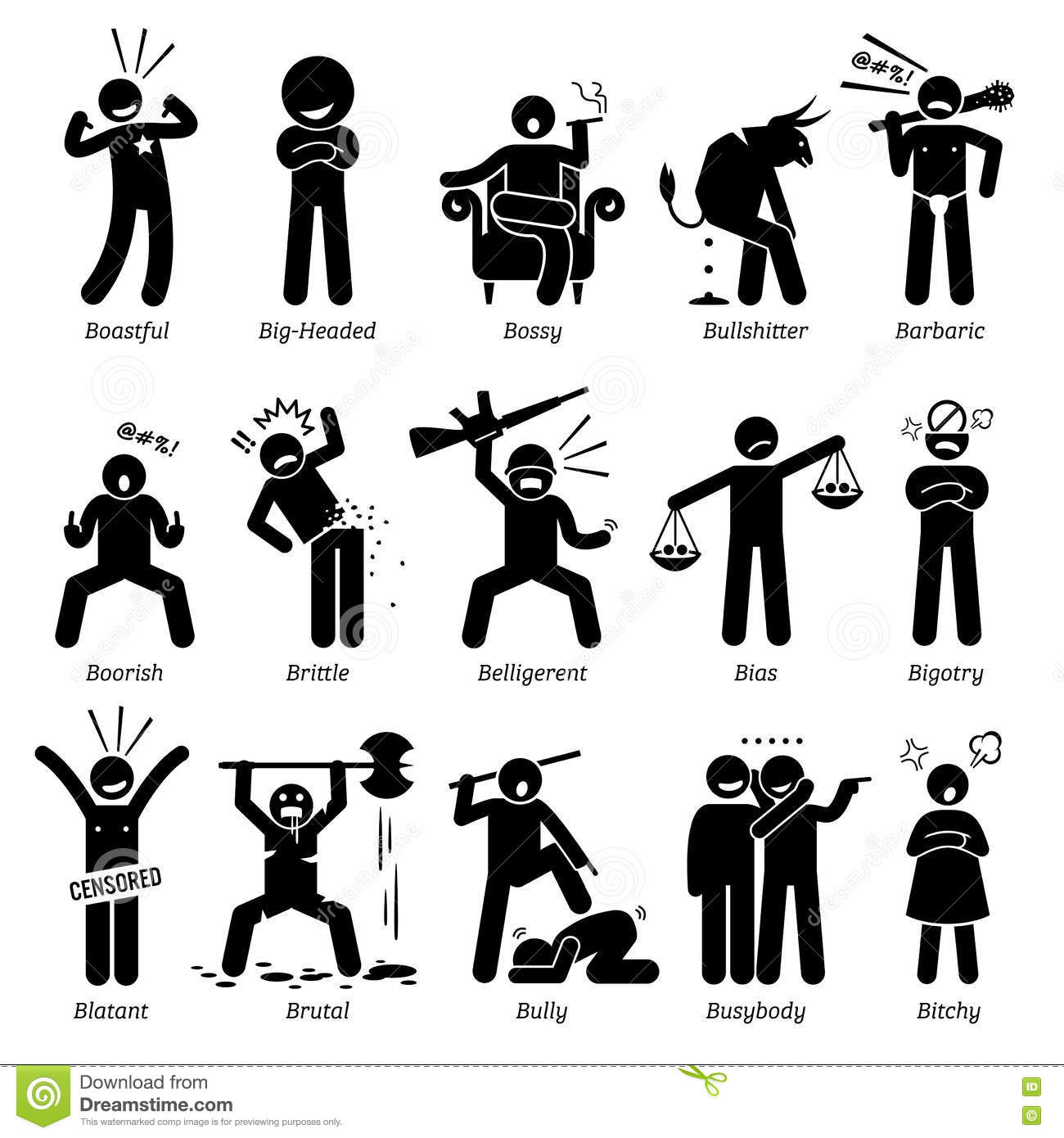 Negative Personalities Character Traits Clipart Stock Vector.