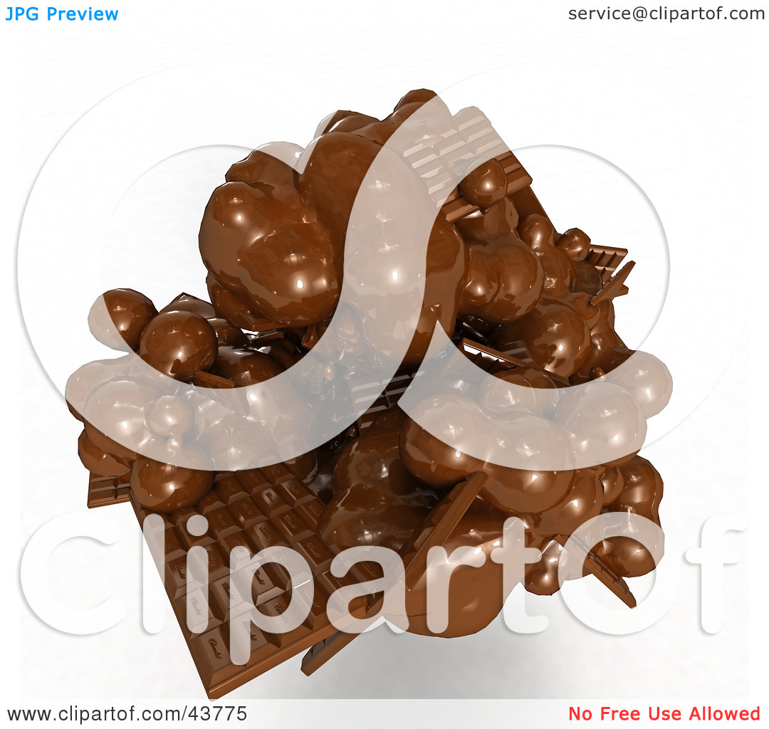 Clipart Illustration of a Mess Of 3d Melting Chocolate Candy Bars.
