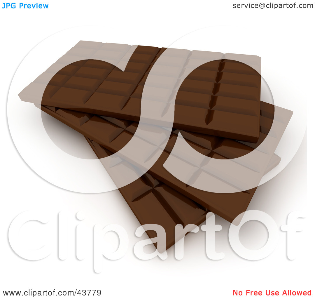 Clipart Illustration of Stacked 3d Chocolate Candy Bars by Frank.