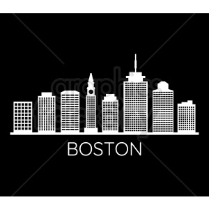 boston city skyline on black vector clipart. Royalty.
